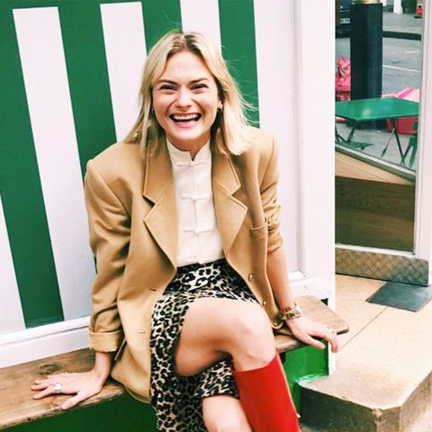 Red ankle boots: Pandora Sykes