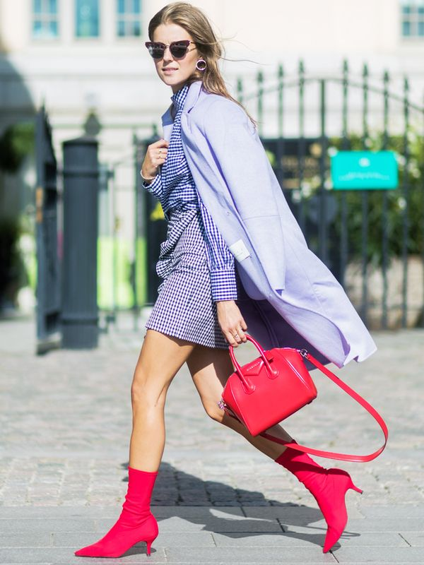 Red ankle boots: Nina Sandbech