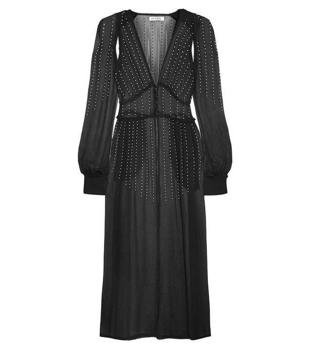 Attico Ginger embellished silk-georgette gown