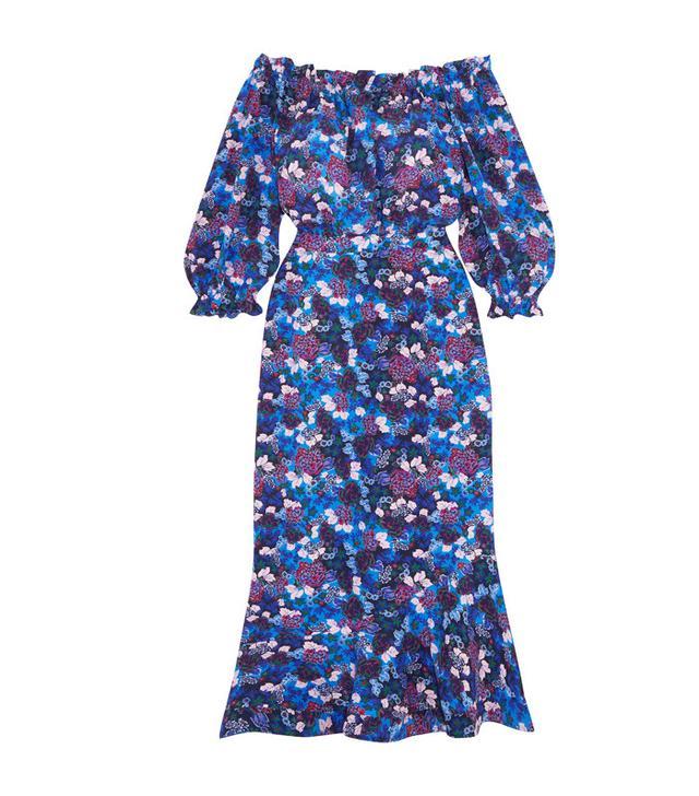 Saloni Grace Off-The-Shoulder Floral-Print Silk-Crepe Dress