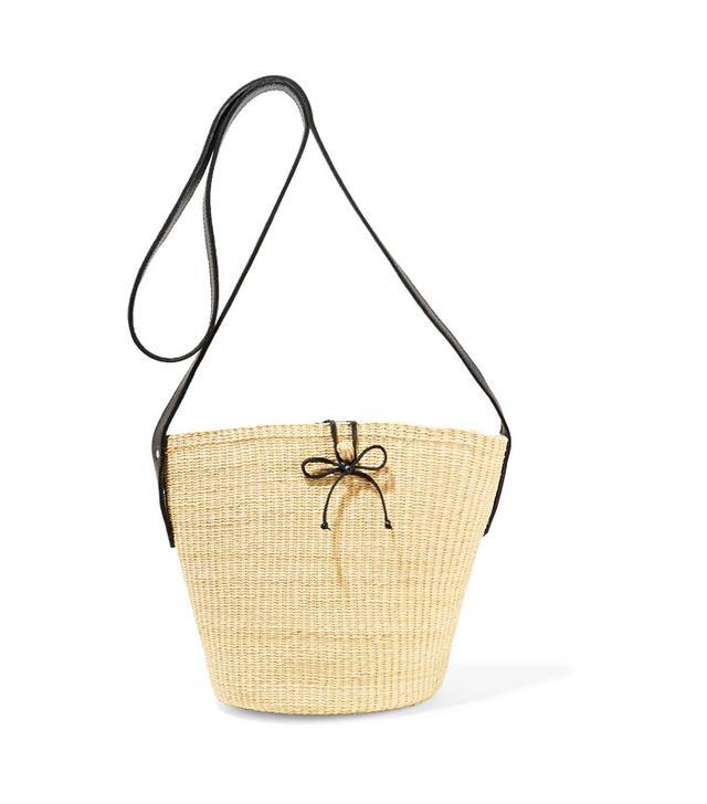 Sensi Studio Leather-Trimmed Woven Toquilla Straw Shoulder Bag