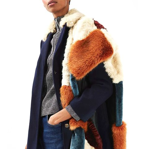 Patchwork Oversized Fur Stole