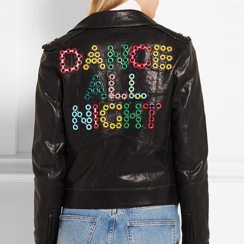 Dance All Night Embellished Leather Biker Jacket