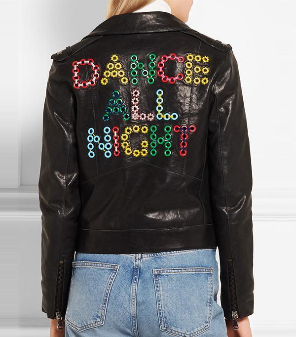 Mira Mikati Dance All Night Embellished Leather Biker Jacket