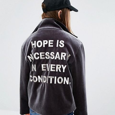 Bonded Velvet Jacket with Back Slogan
