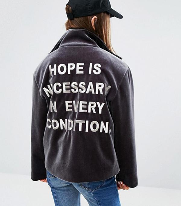 Stylenanda Bonded Velvet Jacket with Back Slogan