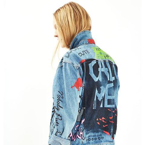 Moto Hand Painted Denim Jacket