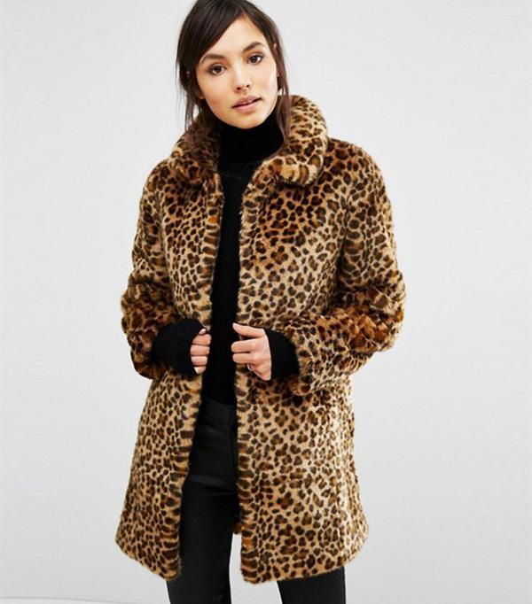Oasis Animal Print Faux Fur Coat