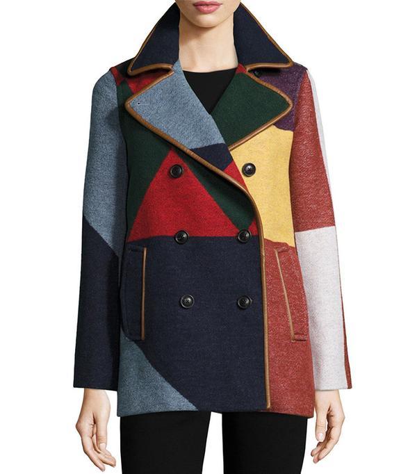 Tory Burch Cheval Colorblock Pea Coat in Carnavalet