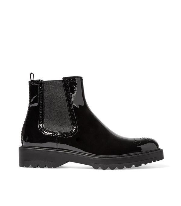 Prada Patent-Leather Chelsea Boot