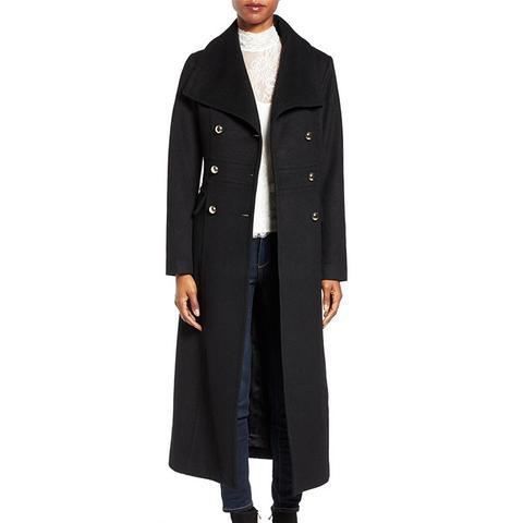 Wool Blend Military Long Coat