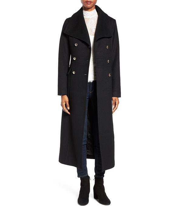 Eliza J Wool Blend Military Long Coat