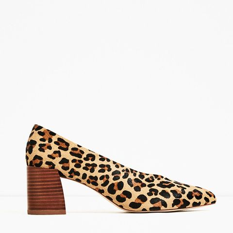 Printed Heeled Leather Shoes