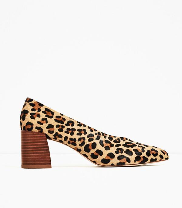 Zara Printed Heeled Leather Shoes