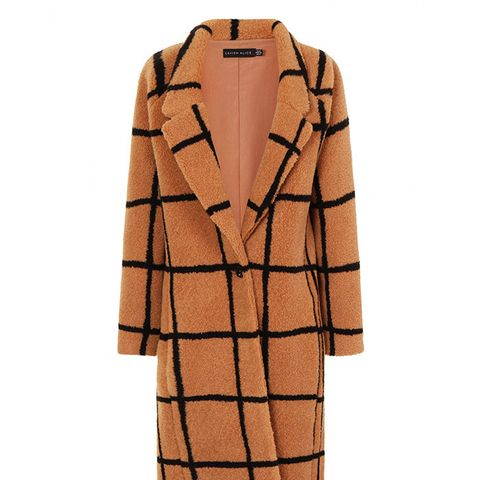 Camel Oversized Check Boyfriend Coat