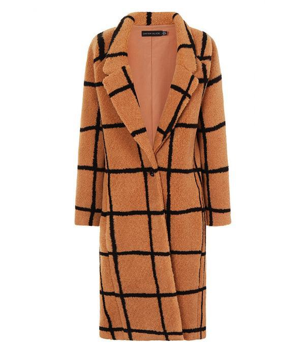 Lavish Alice Camel Oversized Check Boyfriend Coat