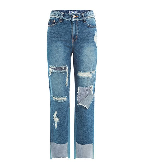 SJYP Distressed Cropped Jeans