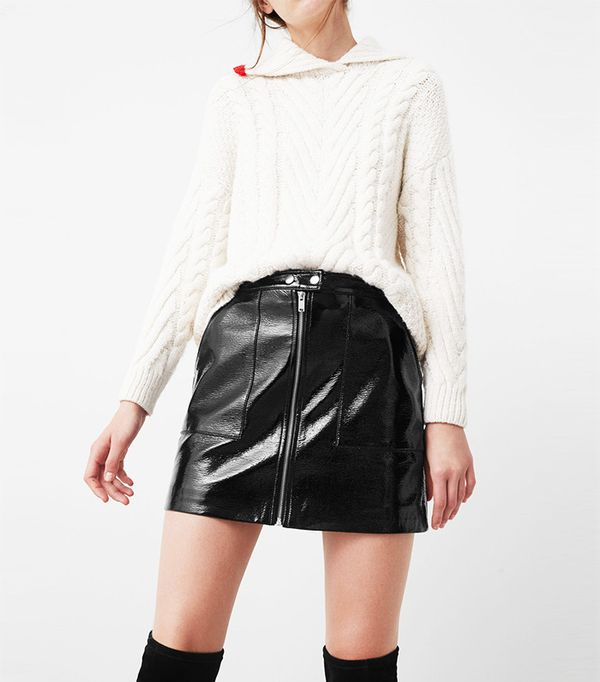 Mango Zipped Patent Skirt