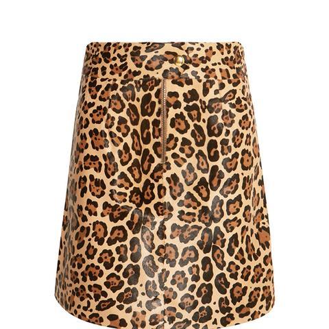 Leopard-Print Calf Hair Mini Skirt