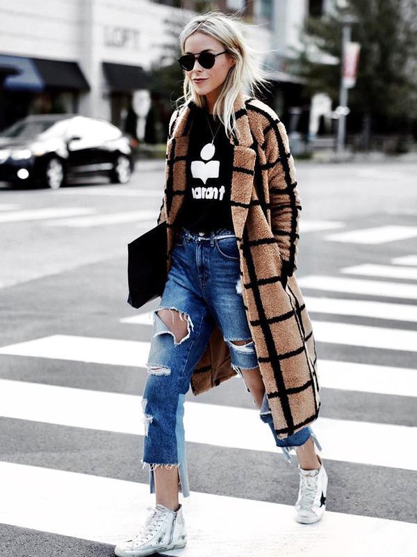 On Mary Seng: ÉtoileIsabel Marant Black Linen Koldi T-Shirt($140); Lavish Alice Camel Oversized Check Boyfriend Coat($150); SJYP Distressed Cropped Jeans($329); Golden Goose White Francy...
