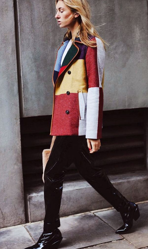 On Camille Charrière: Tory Burch Cheval Colorblock Pea Coat in Carnavalet($795); Carven black trousers; H&M shoes.