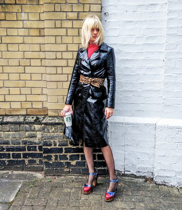 On Pandora Sykes: Archive by Alexa the Briggate Trench Coat; Isabel Marant Yanis Leopard Calf Hair Belt($259); Étoile Isabel Marant Ria High-Neck Lace-Insert Blouse($307); Marc...