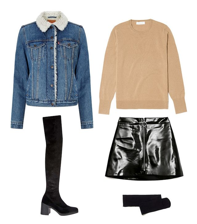 Sherpa Denim Jacket + Patent Miniskirt + Tights + Over-the-Knee Boots