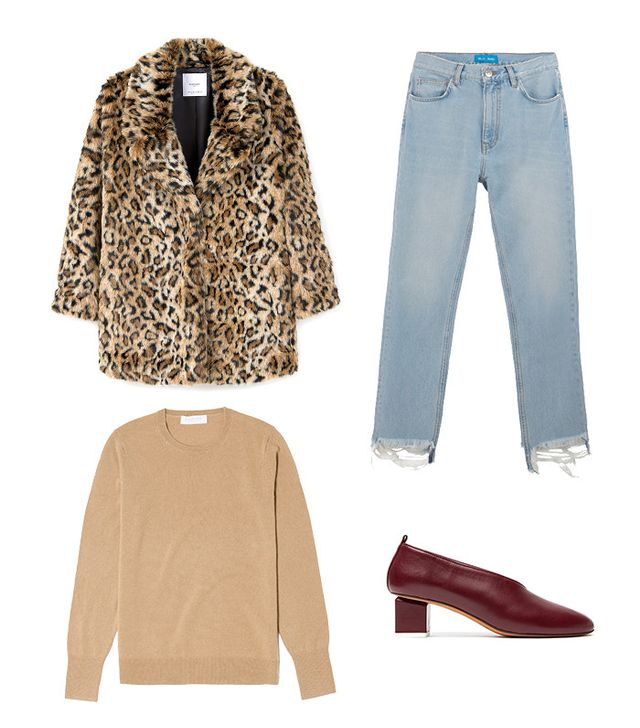 Leopard-Print Coat + High-Waisted Jeans + Pumps