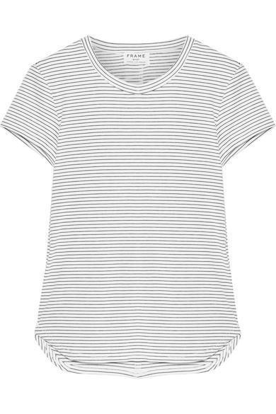 Striped Stretch Modal-blend Jersey T-shirt