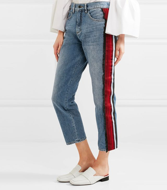 Victoria, Victoria Beckham Neat Cropped Stripe-Trimmed Low-Rise Boyfriend Jeans