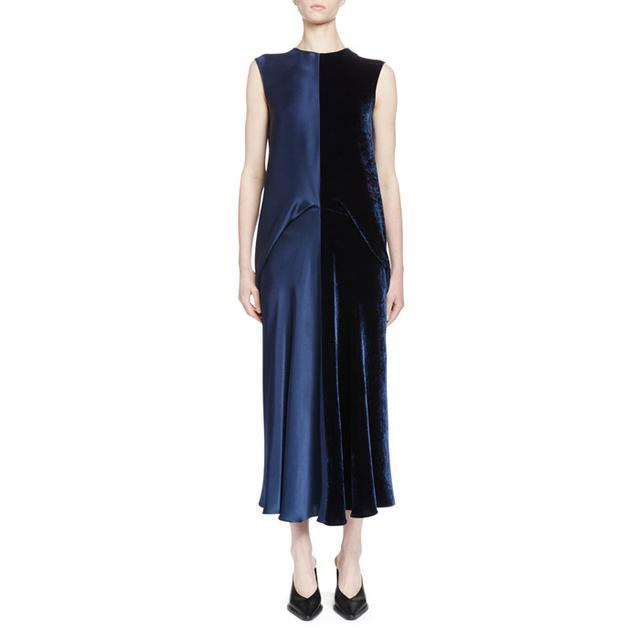 Stella McCartney Sleeveless Satin & Velvet Combo Midi Dress