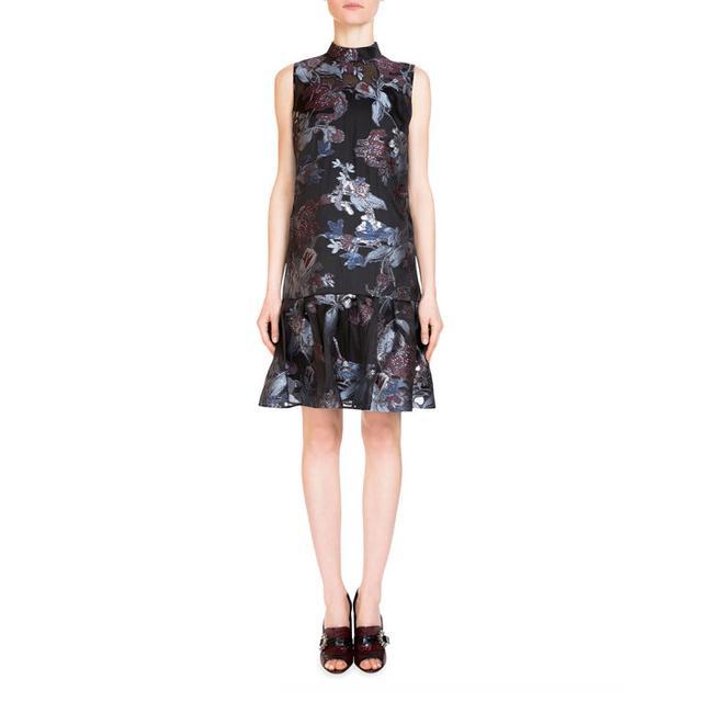 Erdem Nena Mock-Neck Fil Coupe Dress