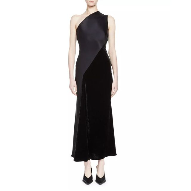 Stella McCartney One-Shoulder Satin & Velvet Gown