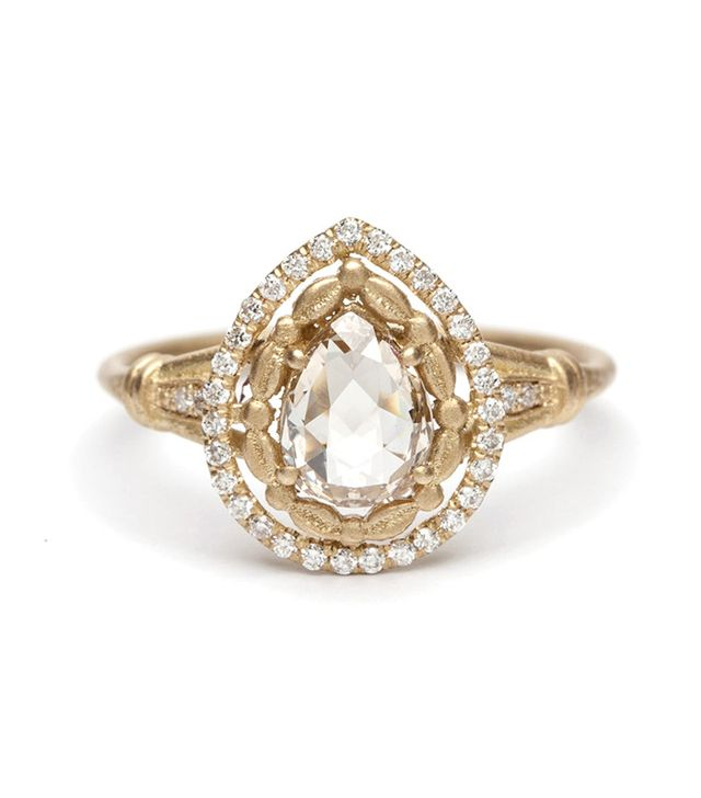 Sofia Kaman Athena Halo Pear Shape Rose Cut Diamond Ring