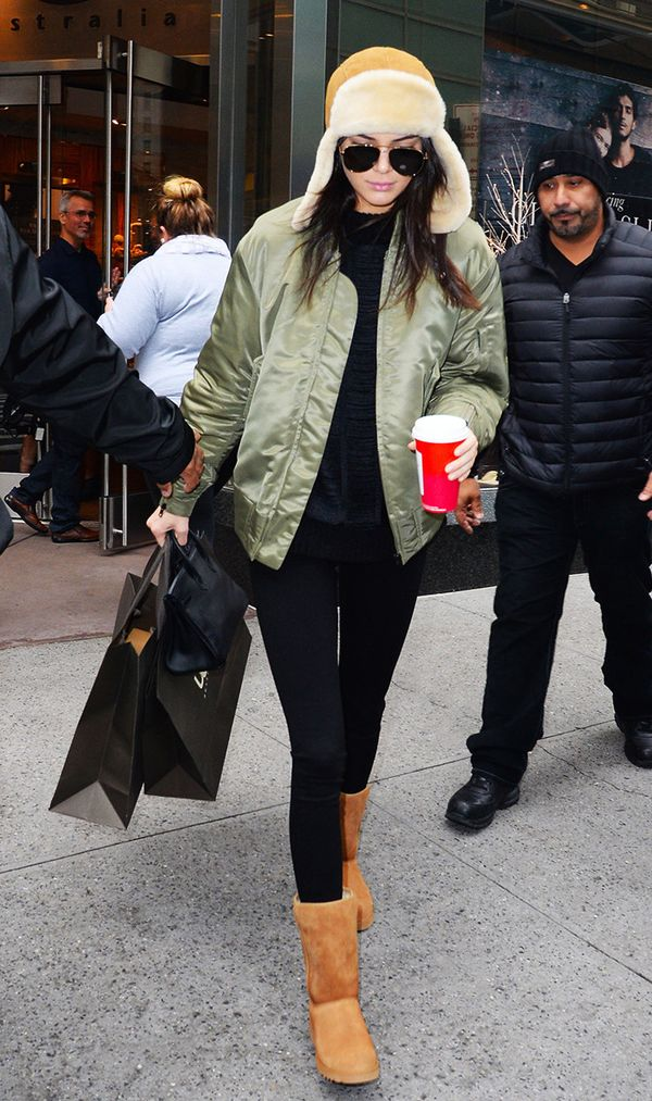 leggings and uggs: Kendall Jenner
