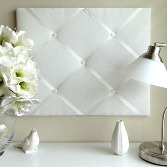 French Knot White on White Ribbon Memo Board