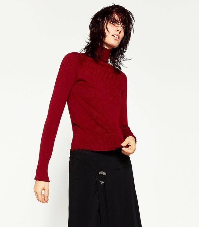 Zara Ribbed High Collar Sweater