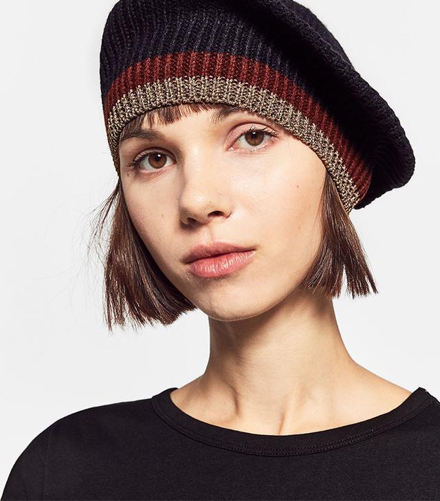 Zara Stripes and Shiny Knit Beret