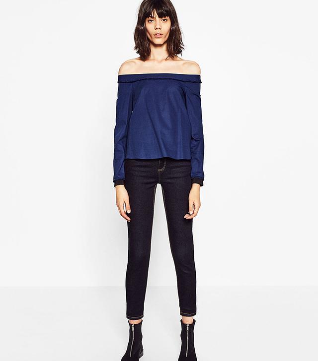 Zara Essential Fit Jeans in Navy Blue