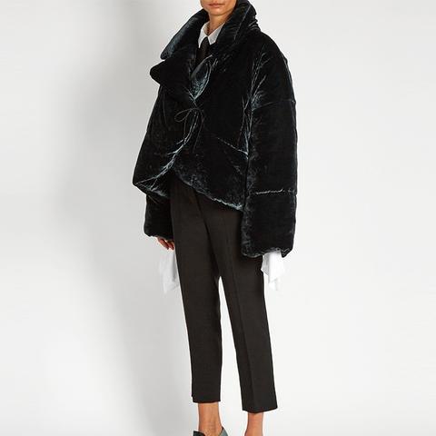 Asymmetric Padded Velvet Coat