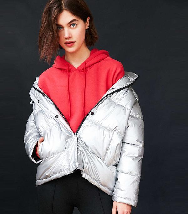 Light Before Dark Ramola Metallic Puffer Jacket