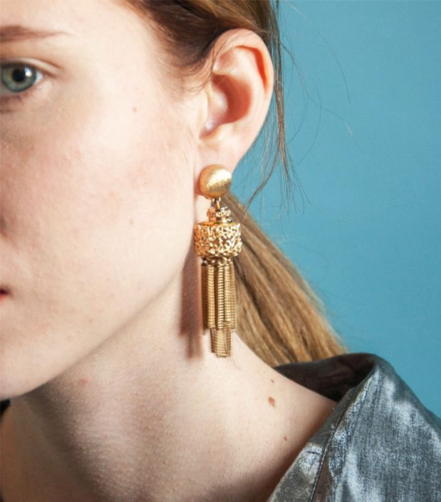 Persephone Vintage Gold Filigree Fringe Earrings