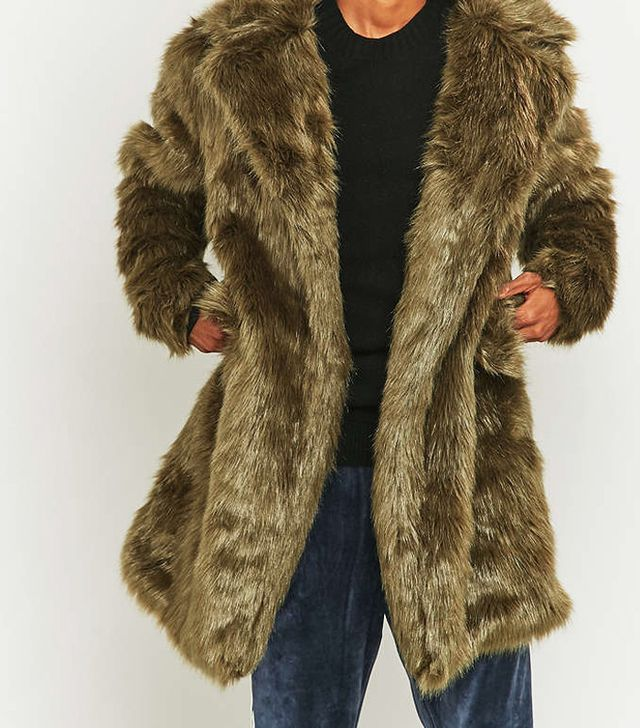 Urban Outfitters The New County Olive Faux Fur Long Coat