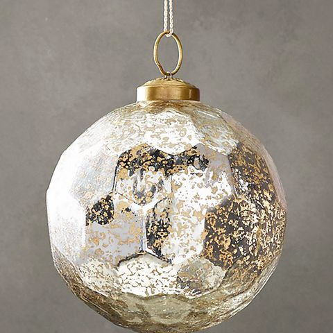 Vintage Glass Ornament Hexagon Ball Silver