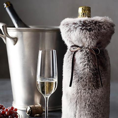 Luxe Faux Fur Wine Bag