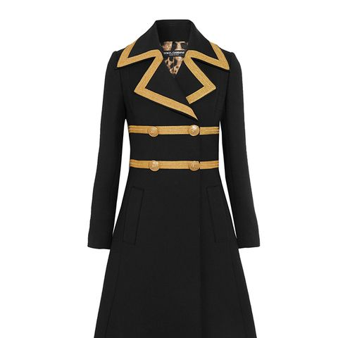 Metallic-Trimmed Wool-Blend Crepe Coat