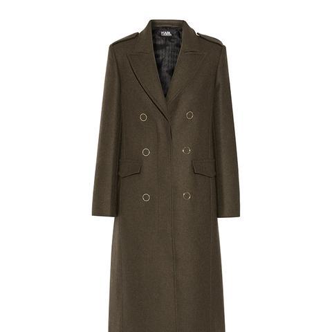 Lace-Up Wool-Blend Coat