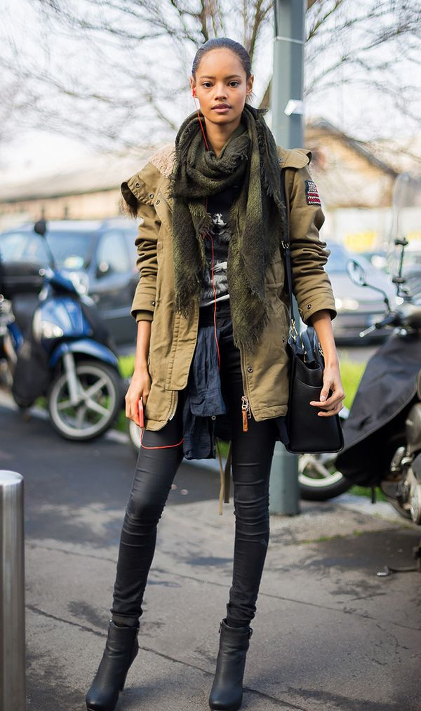 This coat has a slightly different vibe, but it still hits that military and utility trend.