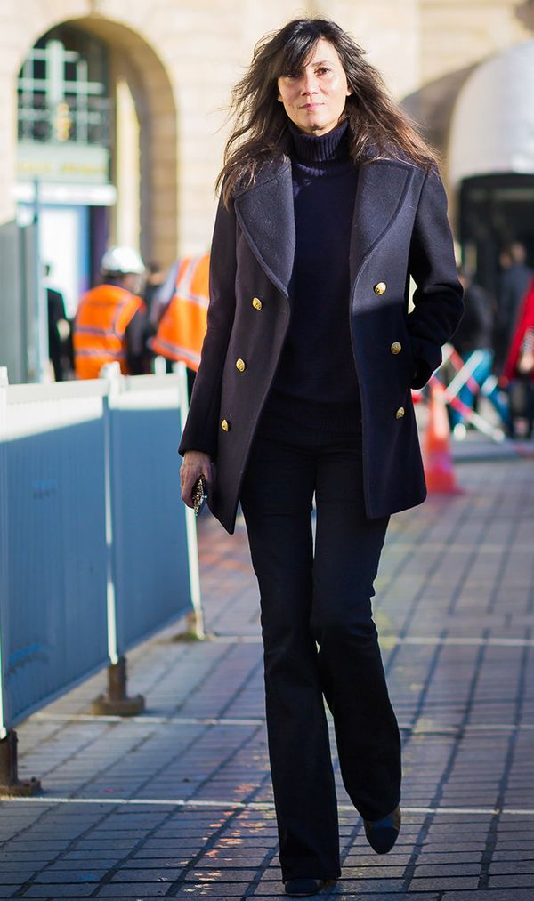 For a classic look, pair a peacoat with a turtleneck and flares.