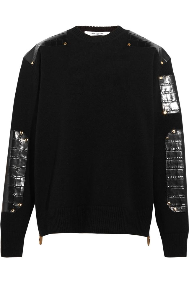 Givenchy Leather-Trimmed Wool Sweater